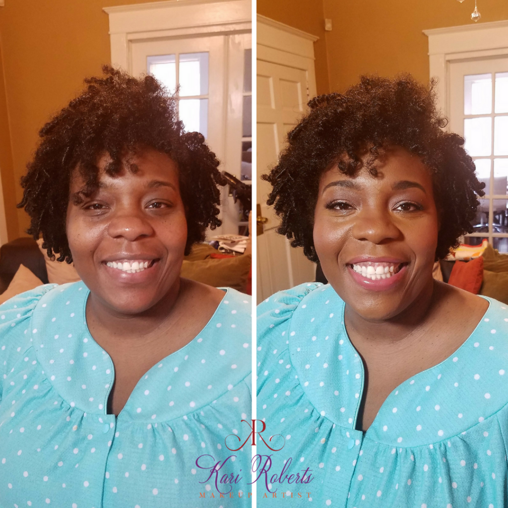 Kari Roberts Makeup Artist special occasion makeup Before and AFter