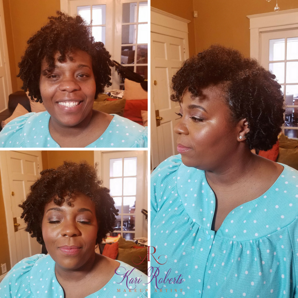 Kari Roberts Makeup Artist special occasion makeup Before and AFter with side picture