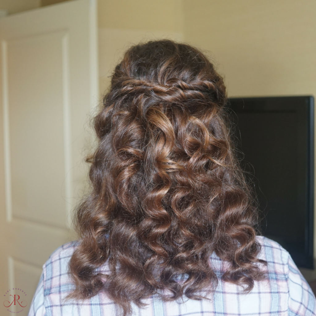 special occasion curly hair half up half down